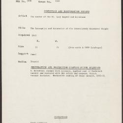 Image for K1689 - Condition and restoration record, circa 1950s-1960s