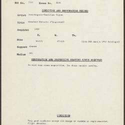 Image for K1650 - Condition and restoration record, circa 1950s-1960s
