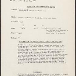 Image for K1646 - Condition and restoration record, circa 1950s-1960s