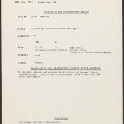 Image for K1718 - Condition and restoration record, circa 1950s-1960s