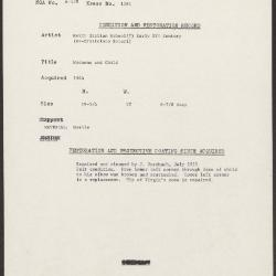 Image for K1385 - Condition and restoration record, circa 1950s-1960s