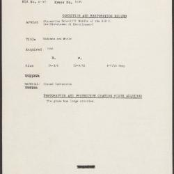 Image for K1409 - Condition and restoration record, circa 1950s-1960s