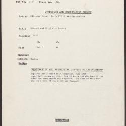 Image for K1023 - Condition and restoration record, circa 1950s-1960s