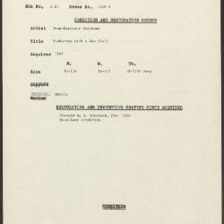 Image for K1259A - Condition and restoration record, circa 1950s-1960s