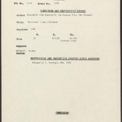 Image for K1258 - Condition and restoration record, circa 1950s-1960s