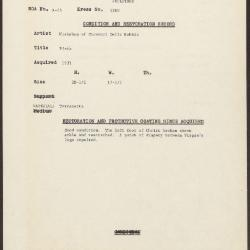 Image for K1280 - Condition and restoration record, circa 1950s-1960s