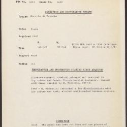Image for K1428 - Condition and restoration record, circa 1950s-1960s