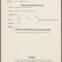Image for K1649 - Condition and restoration record, circa 1950s-1960s