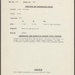 Image for K1889 - Condition and restoration record, circa 1950s-1960s