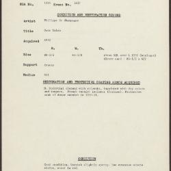 Image for K1837 - Condition and restoration record, circa 1950s-1960s