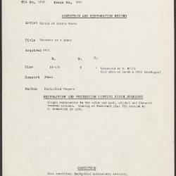 Image for K1897 - Condition and restoration record, circa 1950s-1960s