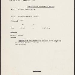 Image for K1828 - Condition and restoration record, circa 1950s-1960s