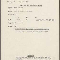 Image for K1702 - Condition and restoration record, circa 1950s-1960s