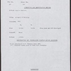 Image for K0272 - Condition and restoration record, circa 1950s-1960s