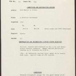 Image for K0512 - Condition and restoration record, circa 1950s-1960s