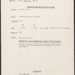 Image for K0488A - Condition and restoration record, circa 1950s-1960s