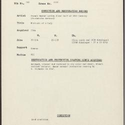Image for K1390 - Condition and restoration record, circa 1950s-1960s