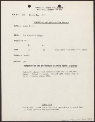 Image for K0210 - Condition and restoration record, circa 1950s-1960s