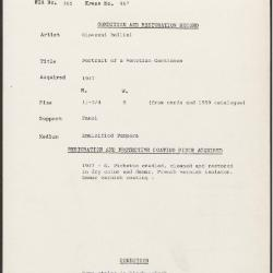 Image for K0467 - Condition and restoration record, circa 1950s-1960s