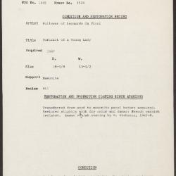 Image for K1526 - Condition and restoration record, circa 1950s-1960s