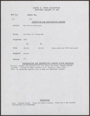 Image for K0215 - Condition and restoration record, circa 1950s-1960s