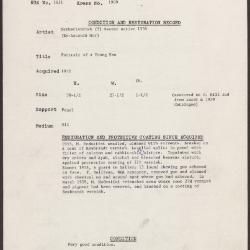 Image for K1900 - Condition and restoration record, circa 1950s-1960s