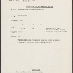 Image for K1908 - Condition and restoration record, circa 1950s-1960s