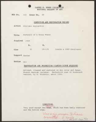 Image for K0049 - Condition and restoration record, circa 1950s-1960s