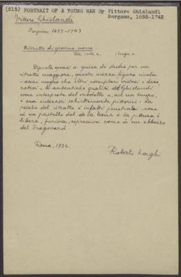 Image for K0215 - Expert opinion by Longhi, 1932