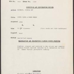 Image for K1550 - Condition and restoration record, circa 1950s-1960s