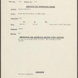 Image for K1911 - Condition and restoration record, circa 1950s-1960s
