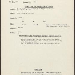 Image for K1389 - Condition and restoration record, circa 1950s-1960s