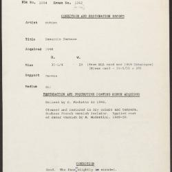 Image for K1562 - Condition and restoration record, circa 1950s-1960s