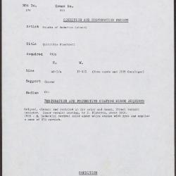 Image for K0313 - Condition and restoration record, circa 1950s-1960s