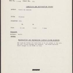 Image for K1981 - Condition and restoration record, circa 1950s-1960s