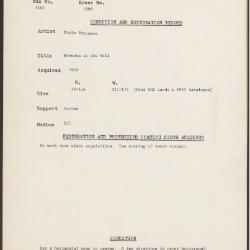 Image for K1898 - Condition and restoration record, circa 1950s-1960s