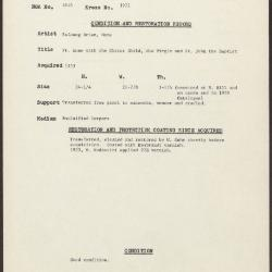 Image for K1972 - Condition and restoration record, circa 1950s-1960s