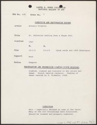 Image for K0007 - Condition and restoration record, circa 1950s-1960s