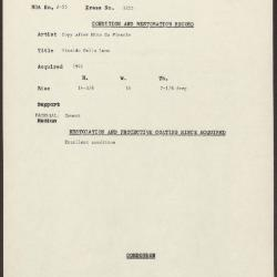 Image for K1255 - Condition and restoration record, circa 1950s-1960s