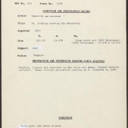 Image for K1368 - Condition and restoration record, circa 1950s-1960s