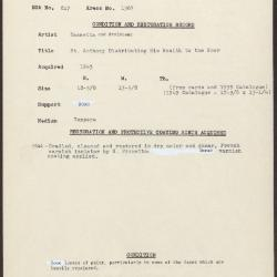 Image for K1367 - Condition and restoration record, circa 1950s-1960s