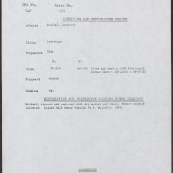 Image for K1539 - Condition and restoration record, circa 1950s-1960s