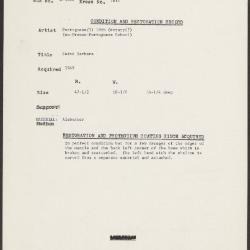 Image for K1614 - Condition and restoration record, circa 1950s-1960s