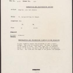 Image for K1377 - Condition and restoration record, circa 1950s-1960s