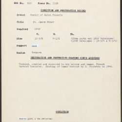 Image for K1359 - Condition and restoration record, circa 1950s-1960s