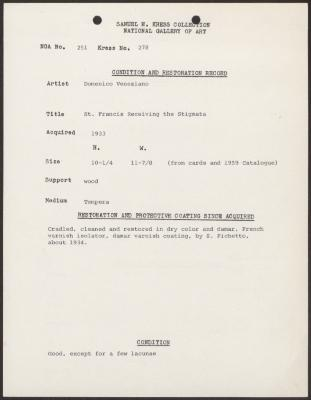 Image for K0278 - Condition and restoration record, circa 1950s-1960s