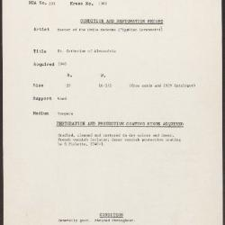 Image for K1302 - Condition and restoration record, circa 1950s-1960s