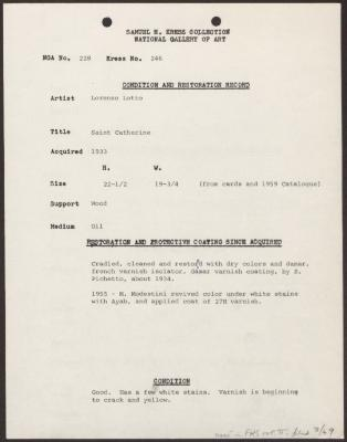 Image for K0246 - Condition and restoration record, circa 1950s-1960s