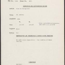 Image for K2001 - Condition and restoration record, circa 1950s-1960s