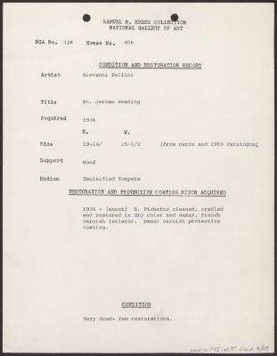Image for K0406 - Condition and restoration record, circa 1950s-1960s